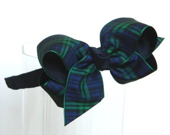 Black Watch Bow Headband - School Uniform Headband