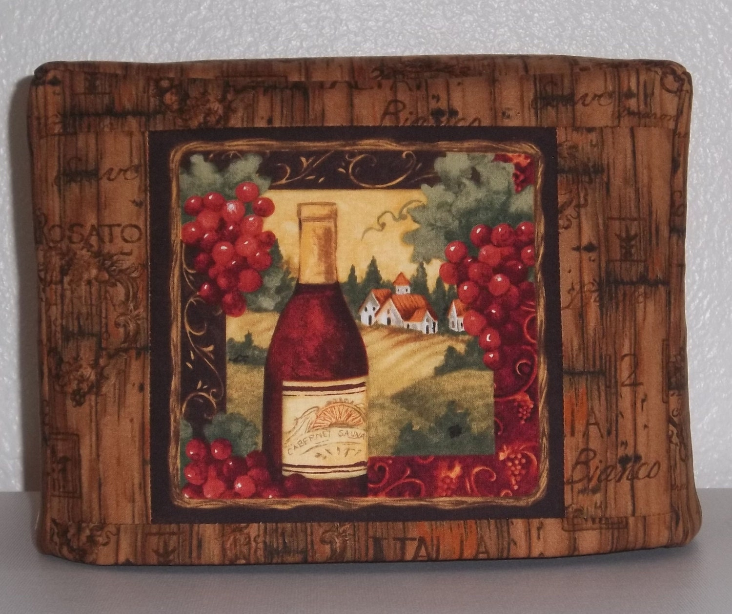 toaster cover 2 slice toaster cover with tuscan wine theme. Black Bedroom Furniture Sets. Home Design Ideas