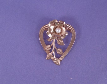 Gold Toned Vintage Heart Rose Pearl Brooch