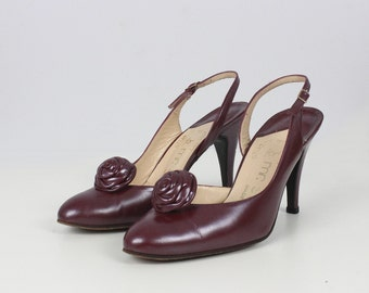 vintage 60s STUART WEITZMAN shoes / vintage burgundy leather heels / slingbacks / rosettes
