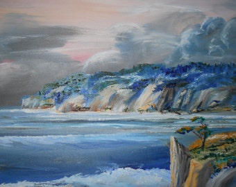 Serenity Sunset, Ocean Painting, The Dream is Yours, Pacific Ocean Oil, Original Oil, 34x23 in, 87x55 cm, Dan Leasure