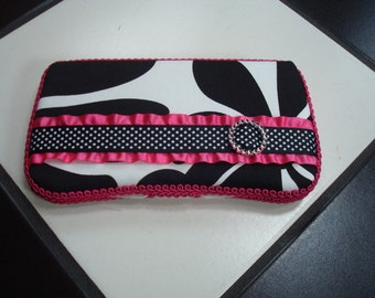 Diaper wipes travel case Floral Hot Pink Black and White polka dot