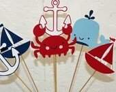 6 nautical Table Decor Sticks, Centerpiece Sticks, Nautical Birthday, Nautical Baby Shower, Nautical Centerpiece, Crab centerpiece, anchor