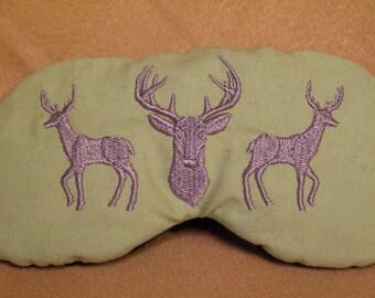 Embroidered Eye Mask, Sleeping, Cute Sleep Mask for Adults, Hunting, Travel, Eye Shade, Sleep Blindfold, Slumber Mask, Deer Design, Handmade