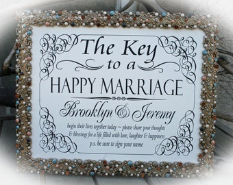 NOT a printable- 8 x 10 Wedding Sign- Vintage Style The Key to a Happy Marriage