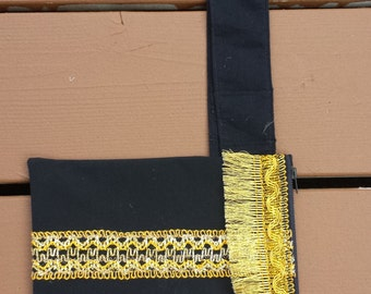Upcycled Mini Purse - Small Purse - Pocket Pouch - Black with Gold Braided Trim