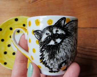 SALE Mr Raccoon Espresso Cup & Saucer - Hand painted homewares