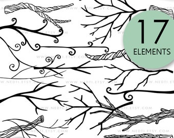 Tree Branches Doodle Clip Art, Branch Clipart, PNG, Images, Instant Download, Trees, Lineart, Hand Drawn, Wood, Illustrated Logo, Invitation