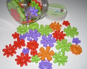 Flower Buttons,   Pretty Assorted Plastic Flower Buttons