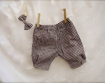 Baby boy brown Newborn pants, Bow Tie and Onesie,  baby boy outfit , birthday outfit for boys, boy photo prop for babies  0-3 months