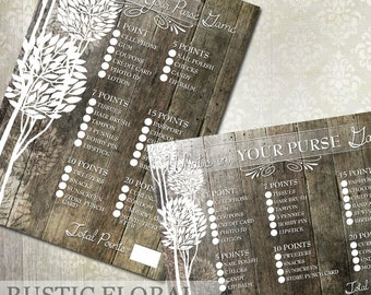 """Bridal Shower Game """"What's in your purse"""" Rustic Bridal Shower Game Instant Download"""