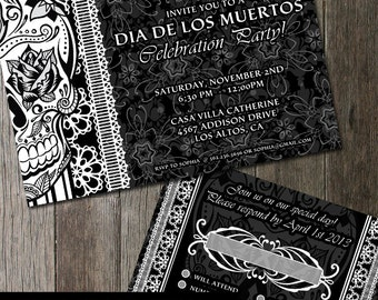 Skull Goth Wedding Invitation and RSVP | Halloween | Goth |Offbeat wedding | Digital Printable