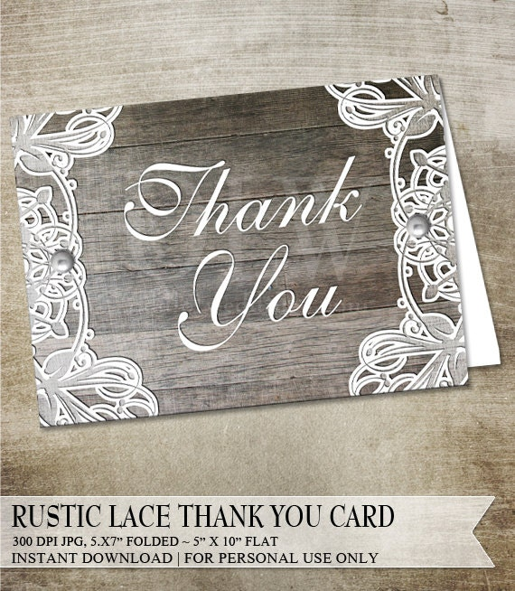 Rustic Lace thank you card, printable thank you card, lace and wood, DIY printable greeting card, Instant Download, White Lace and Wood