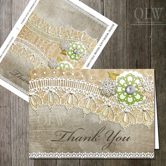 Kraft Lace Paper Thank You Printable Card, Vintage Lace, Rustic Thank You Card, DIY Printable thank you cards, Vintage Flower Card