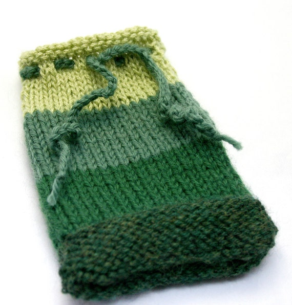 Green Ombre Knit Cozy- Four Stripes- Hand Knitted Bag- Accessory Pouch With Drawstring