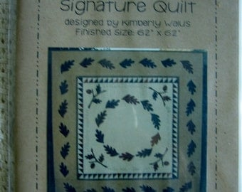 Thanksgiving Signature Quilt 62 x 62 Fall Acorns & Leaves Sewing Pattern  UC Uncut FF Quilting Applique