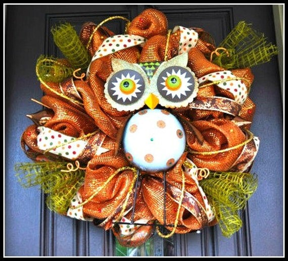 Fall Owl Wreath, Fall Wreath, Fall, Wreath, Owl Wreath, Fall Decoration, Fall Decor, Door Hanger, Deco Mesh Wreath, Deco Mesh