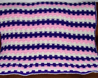 Purple, Pink, and White Basket Weave afghan