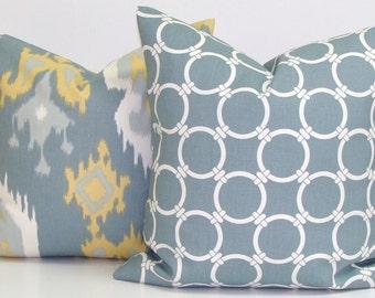 Blue GRAY Yellow PILLOW SET.20x20 inch.Pillow Cover.Gray.Grey.Ikat.Pillow.Cm.Cushion Cover Set. Pillow.Cushion.Grey Ikat.Gold.Grey Cushion