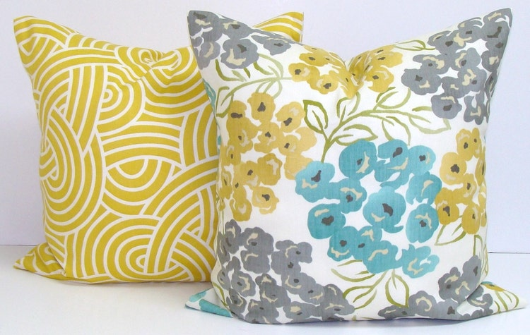 Teal Yellow Pillow Cover All Sizes Gray Pillow By