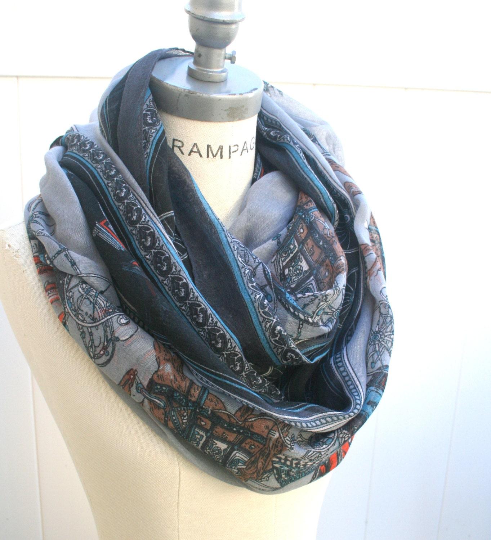 grey infinity scarf unique print womens scarves by piyoyo