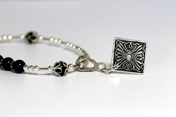 Dark Green Jade & Handmade Fine Silver Triangle Shaped Pendant w / Tiny Cubic Zirconia | Modern Artisan Jewelry | Girlthree Handmade Jewelry