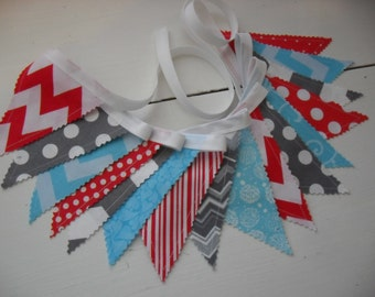 Fabric Banner, Cat in the Hat Inspired Mini Fabric Banner, Mini Fabric Banner, Red, Aqua Blue, Grey, Gray, Dots, Chevrons, Ready to Ship!