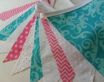 Fabric Banner, Lace Banner, Wedding, Nursery Decor, Shower, White Eyelet Lace, Aqua Blue, Pink, Chevron, Dots, Damask, Ready to Ship!
