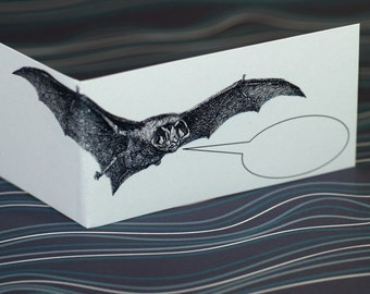 BAT BANTER ... Mini Notecards . Handmade Stationery . Stationery Set . Quirky Animal . Thank You Cards . Folded Notes . Halloween Cards