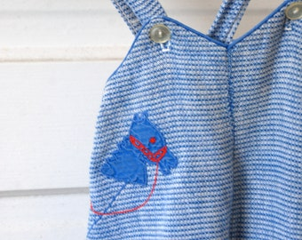 Vintage Baby Overalls, Blue, Horse