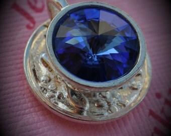 Silver Plated Genuine Swarovski Crsytal Tea Cup Rivoli In Sapphire Pendant