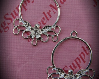 Genuine Silver Plated Swarovski Crystal Round Chandelier Earrings In Clear