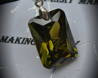 AAA Silver Plated Rectangle Pendant With Olive Green Cubic Zirconia