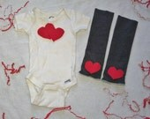 Baby Boy or Girl Photo Prop Outfit, Heart Onesie and Heart Leg Warmers
