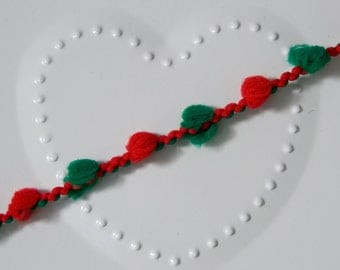 Red and Green  Pom Pom Trim  3 or 5 metre