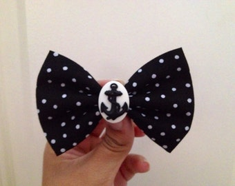 Polka dot anchor hair bow