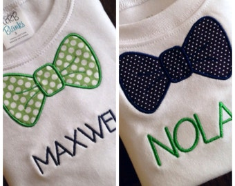 Little Boy's Bow Tie Shirt with Name Personalized Applique T Shirt Baby Toddler Preschool