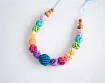 Snow Rainbow - Nursing Necklace, Teething Necklace, Breastfeeding, Babywearing, Girasol, Eco-Friendly Baby Toy - FrejaToys