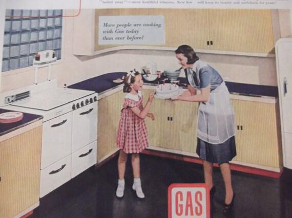 kochen mit gas herd k hlschrank original 40er jahre vintage. Black Bedroom Furniture Sets. Home Design Ideas