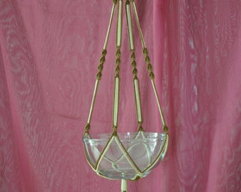 """Hand Crafted Macrame Plant Hanger- Chocolate and Tan 35"""" (Available in all colors)"""