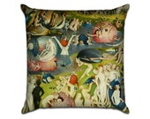 The Garden of Earthly Delights by Bosch (3) - Famous Art Sofa Throw Pillow
