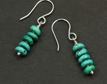Turquoise and Shell Earrings with Sterling Silver, Turquoise Jewelry, Turquoise Earrings, Southwestern Earrings