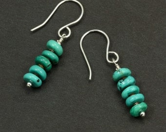 Turquoise and Shell Earrings with Sterling Silver, Turquoise Heishi, Turquoise Earrings, Southwestern Earrings