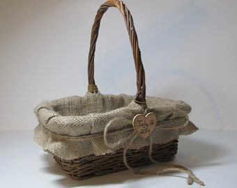 Rustic Burlap Flower Girl Basket - Personalized For Your Country Wedding