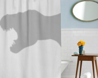 T-Rex Shower Curtain, dino, coolest bathroom you will ever see, in this house we do geek, dorm decor, girls dorm, guys dorm