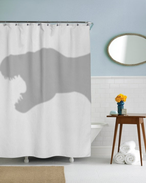 T-Rex Shower Curtain, dino, coolest bathroom you will ever see, jurrasic park, in this house we do geek, dorm decor, girls dorm, guys dorm