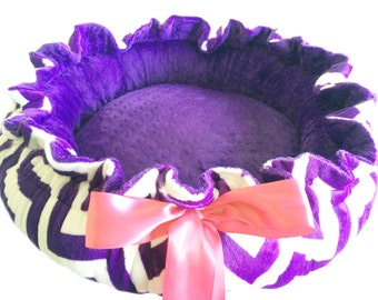 Small Size Dog Bed Purple and White Chevron With Purple Dot Minky