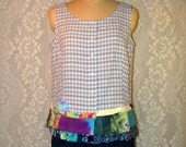 Clearance Sale Sleeveless Plaid Button Front Top Boho Hippie Upcycled Upscaled Altered Eco Clothing Colorful Funky