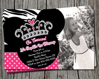 Minnie Mouse Zebra Print Polka Dot Princess Crown Birthday Party Invitation Card   - Any Color