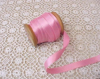 5 Yards of Pretty In Pink Vintage Satin Ribbon